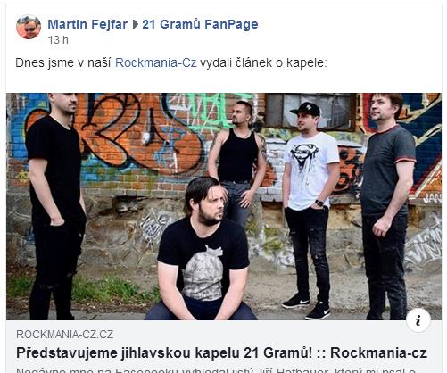 Odkaz na článek o kapele 21 Gramů na Rockmania.cz